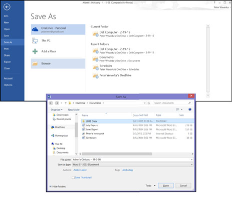 Choose OneDrive in the Save As window to save a file from your computer to a OneDrive folder.