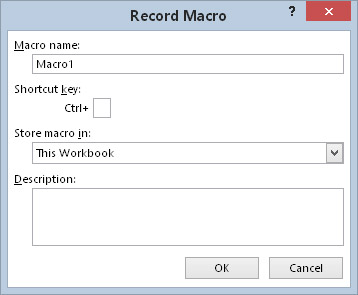 The Record Macro dialog box appears when you're about to record a macro.