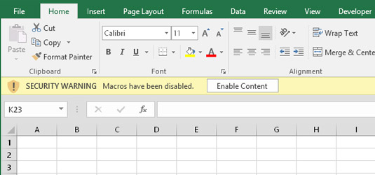 Excel's warning that the workbook just opened contains macros. You see this warning if the VB