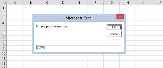 Using the built-in VBA InputBox function to get a number.
