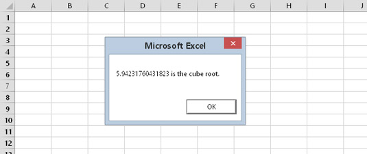 Displaying the cube root of a number via the MsgBox function.