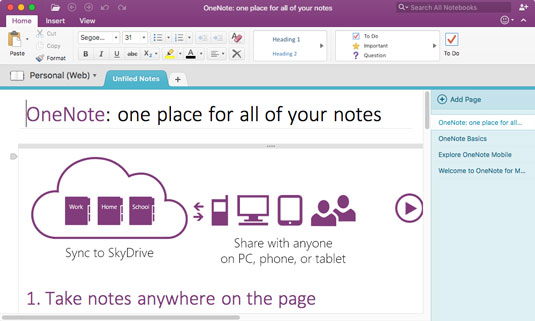 OneNote 2016 has a modern look.