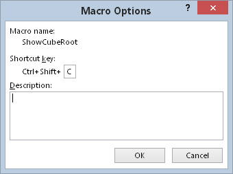 The Macro Options dialog box lets you set options for your macros.