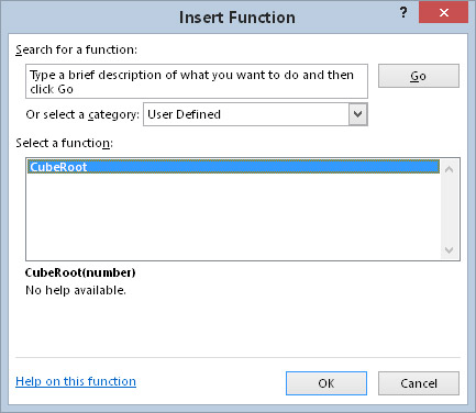 The CubeRoot function appears in the User Defined category of the Insert Function dialog box.