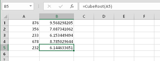 Using the CubeRoot function in formulas.