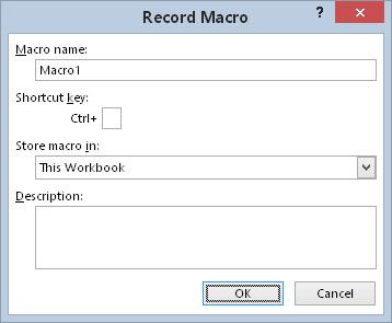 The Record Macro dialog box provides several options.