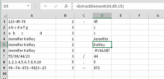 Using the ExtractElement function to return an element from a string.