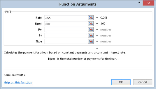 By default, the Function Arguments dialog box displays Function argument descriptions for built-in