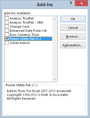 The Add-Ins dialog box lists all the add-ins known to Excel.