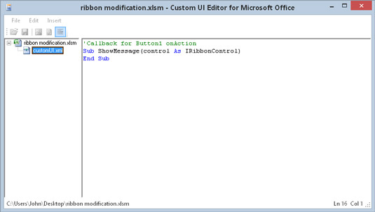 The VBA callback procedure that is executed by clicking the Ribbon button.