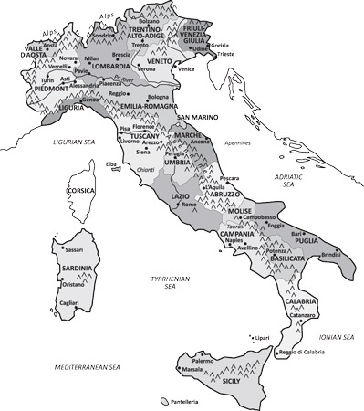 The wine zones of Italy. [Credit: Illustration by Lisa S. Reed]