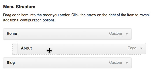 Dragging the About menu link under the Home link to create a submenu item.