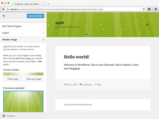 The selected header image displays in the WordPress Customizer.