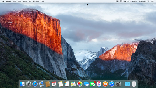 The OS X El Capitan Desktop after a brand-spanking-new installation of OS X.