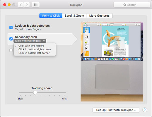 The Trackpad System Preference pane offers controls for one-finger and multi-finger gestures.