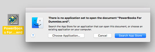 Oops! OS X helps you find the correct application.