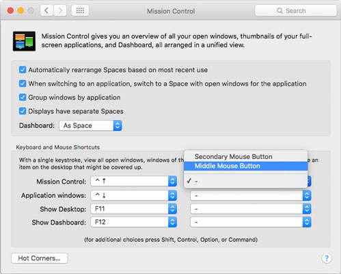 The Mission Control System Preferences pane with Hot Corners . . . on the bottom left.