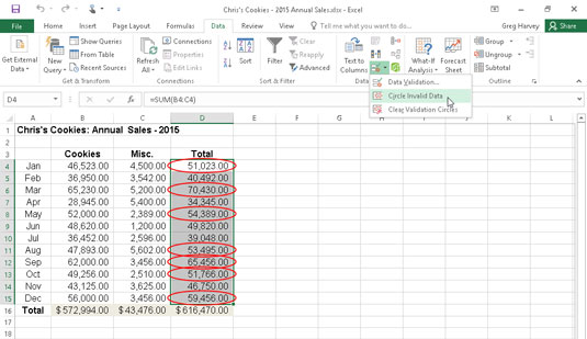 Using Data Validation to mark unexpected entries (monthly sales above $50K) in a data table.
