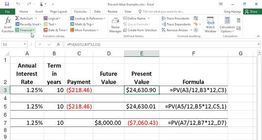 Using the PV function to calculate the present value of various investments.