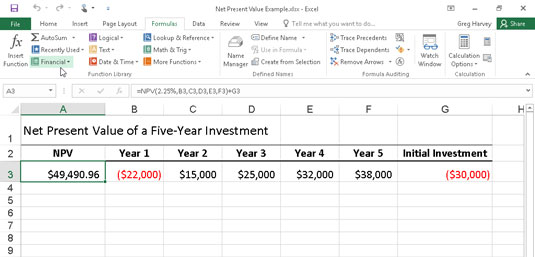 Using the NPV function to calculate the net present value of an investment.