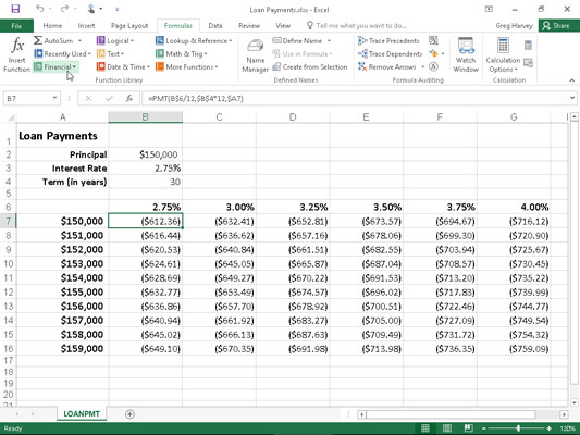 Loan Payments table using the PMT function to calculate various loan payments.