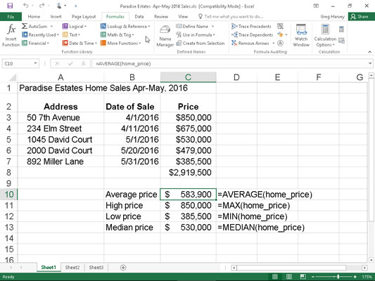 Home sales spreadsheet using common statistical functions.