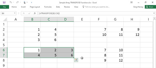 Using the TRANSPOSE function to change the orientation of a simple array.