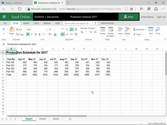 Editing the Production Schedule worksheet in Microsoft Edge web browser with Excel Online.