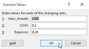 Specifying the changing values in the Scenario Values dialog box.