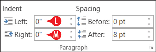 You can use the Layout tab's Paragraph group to control left and right indentation.