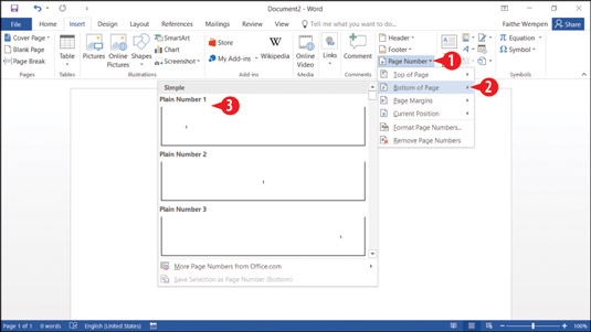 How to Number the Pages of a Report in Word 2016 - dummies