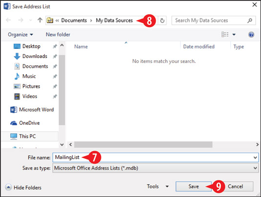 Specify a data file name and location.
