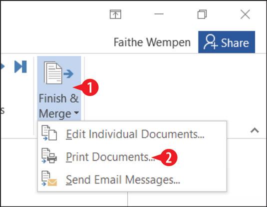 Choose to merge to a printer.