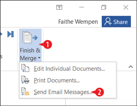 Choose Send Email Messages.