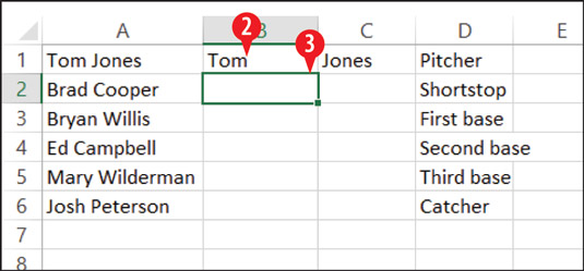 Create an example of the separation you want in blank column(s) to the right of the original data.
