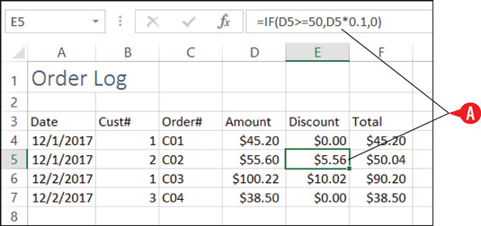The amount of discount is determined using an IF function.