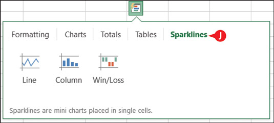 Choose Sparklines to add mini-charts that show overall trends.