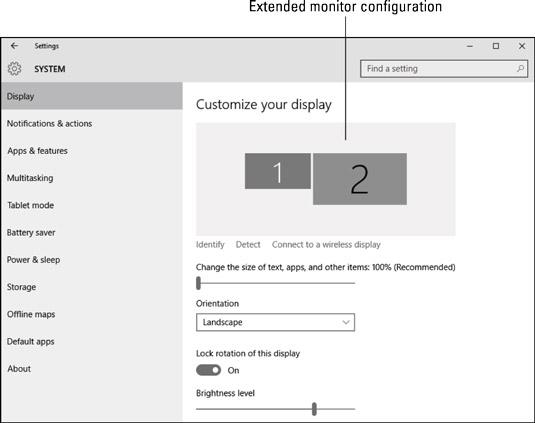 Managing an external monitor.