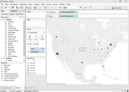 A Symbol map is the perfect view for showing sales geographically.