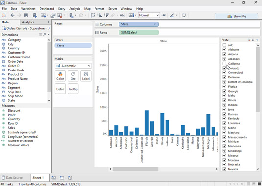 Deselect the check boxes for the data that you want to exclude from your chart.