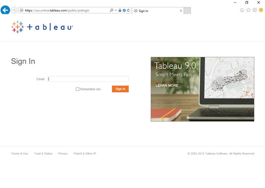 Tableau's log in page.
