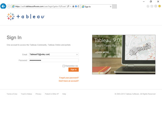 Signing in to your tableau workbooks.