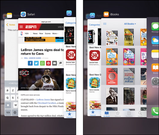 Scroll to see previews of the apps you've recently used.