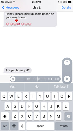 Swipe up to send your voice message or tap the X to cancel it.