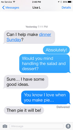 An SMS conversation looks like this.