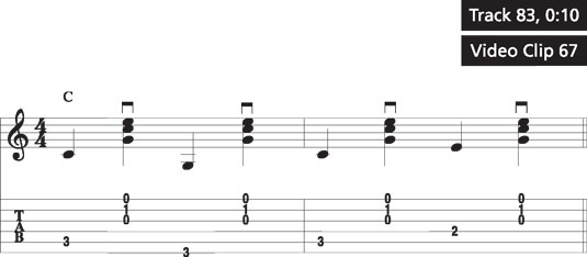 A simple thumb-brush pattern on a C chord.