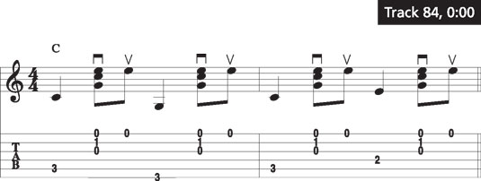 The thumb-brush-up pattern on a C chord.