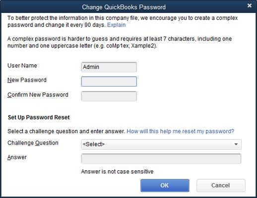 The Change QuickBooks Password dialog box.