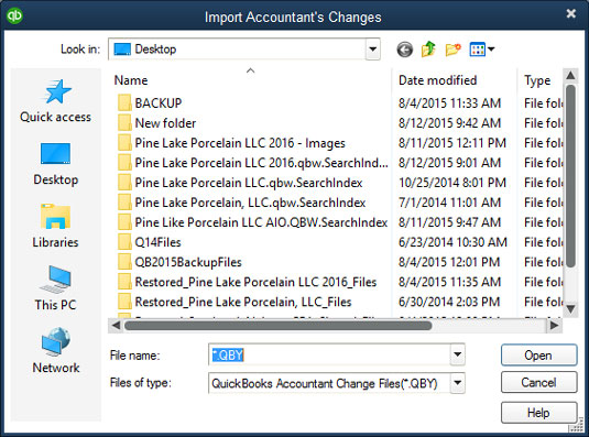 Import Quickbooks Accountant's Changes