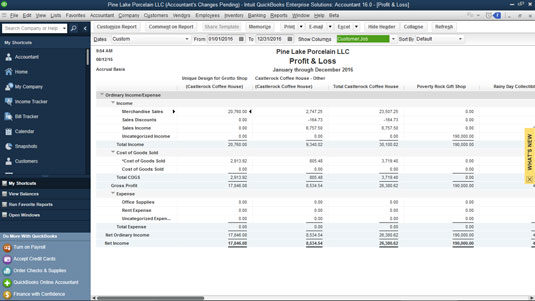 A profit and loss statement with Customer: Job columns.
